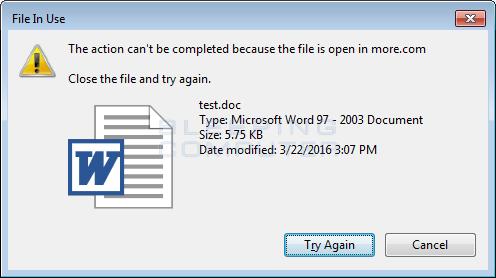 Error deleting file or folder